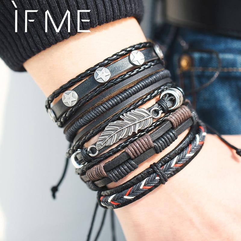 Vintage Feuille Plume Multicouche Bracelet En Cuir