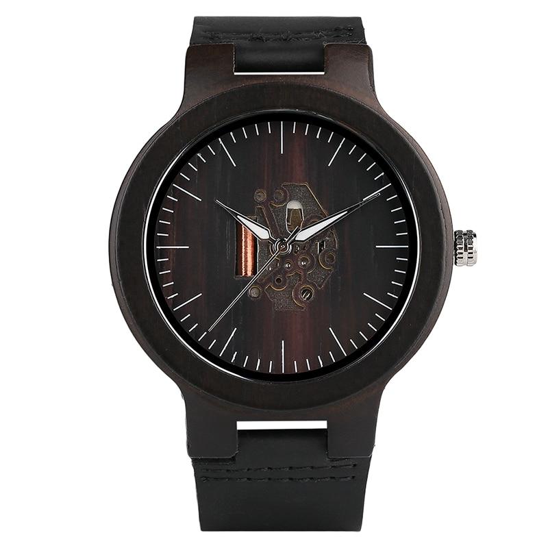 Montre-bracelet en bois noir Simple Quartz en bois