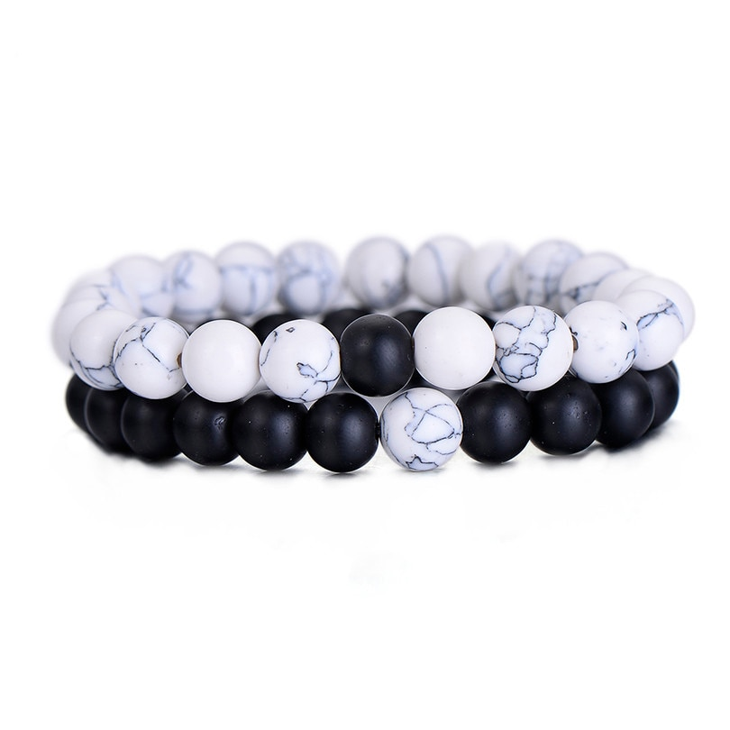 Bracelet Classique En Pierre Naturelle Blanc et Noir Yin Yang