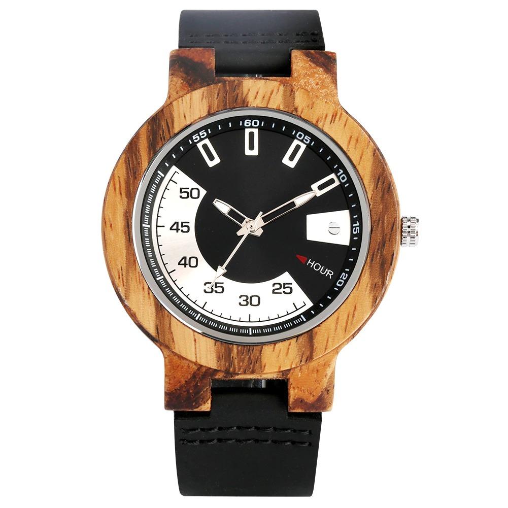 La montre unique en bois avec bracelet en cuir
