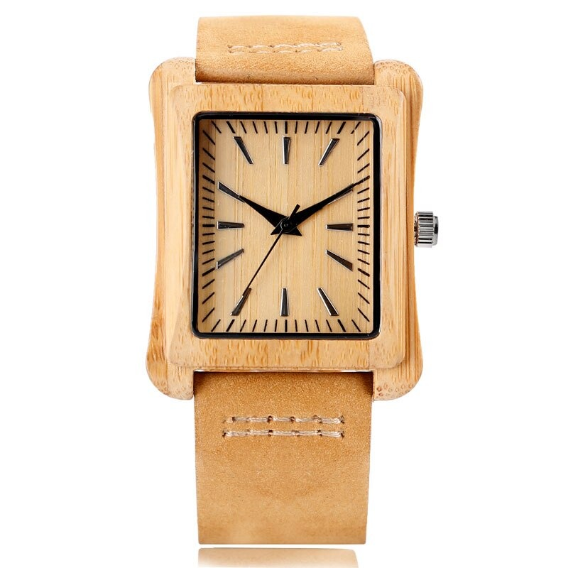 Montres en bois rectangle pour hommes ou femmes unique bracelet minimaliste