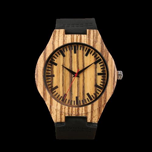 Montre en bois noir bracelet en cuir léger grand cadran