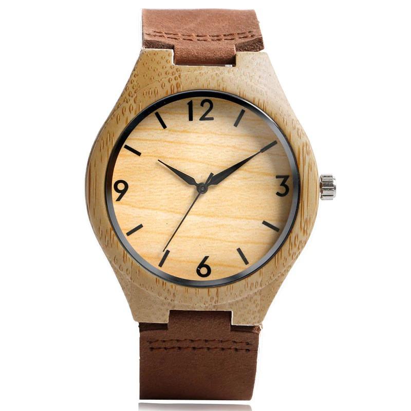 Montre-bracelet en bois bracelet en cuir véritable marron