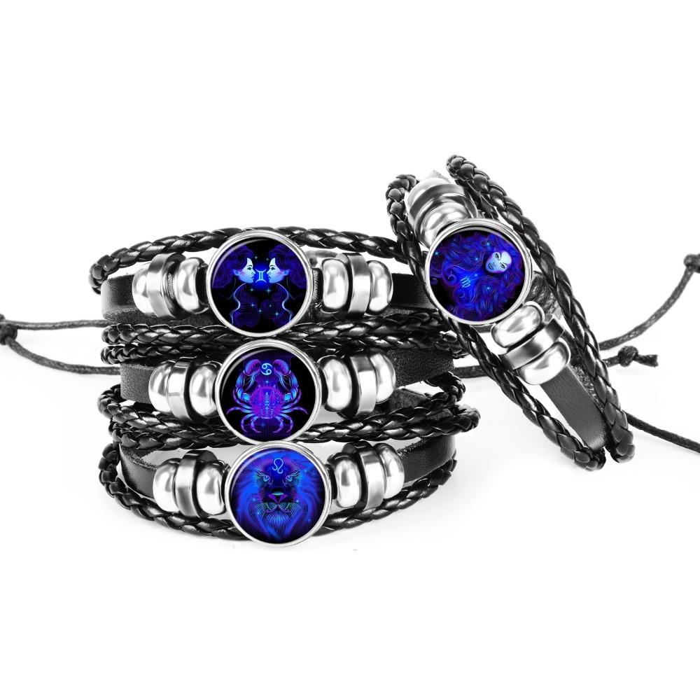 Signe Du Zodiaque Noir Tressé En Cuir Bracelet