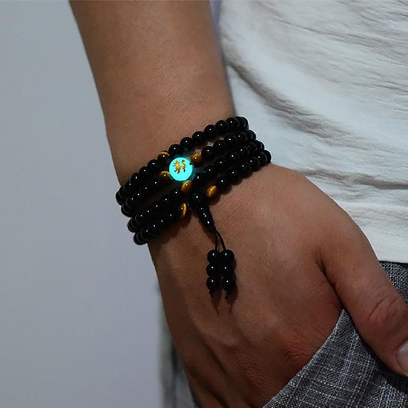 Noir Bouddha Mala Perles Bracelet