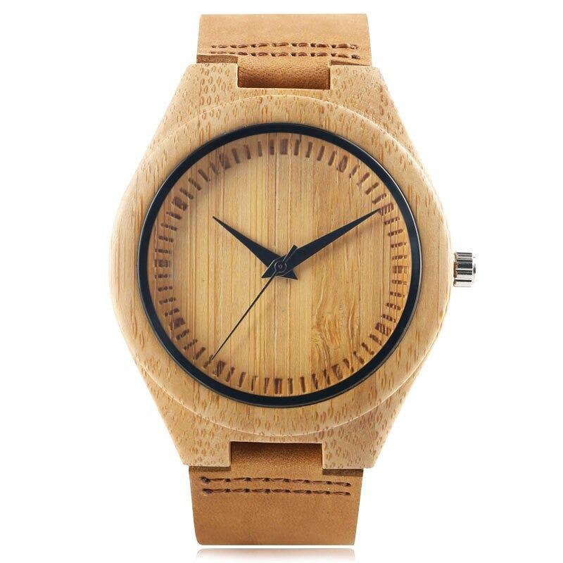 Montre minimaliste en bois, montre simple en bois de bambou