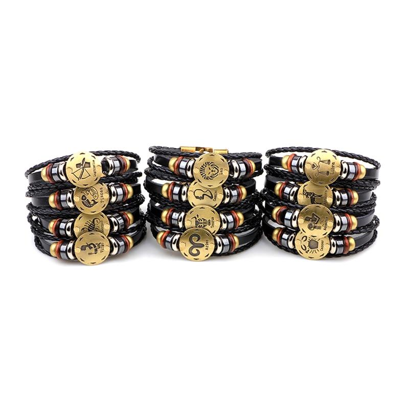 Horoscope Bracelet En Cuir bijoux pour hommes