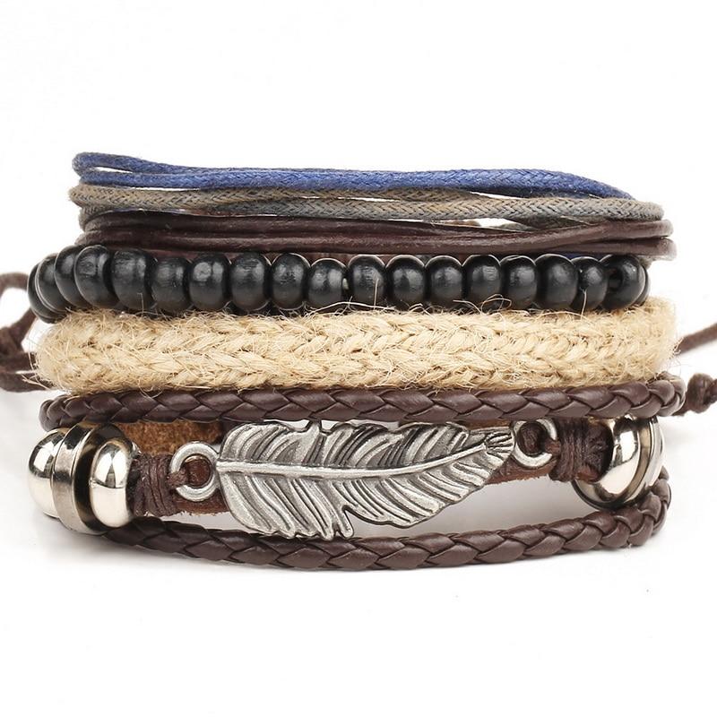 1 set 4 pcs en cuir bracelet Hommes