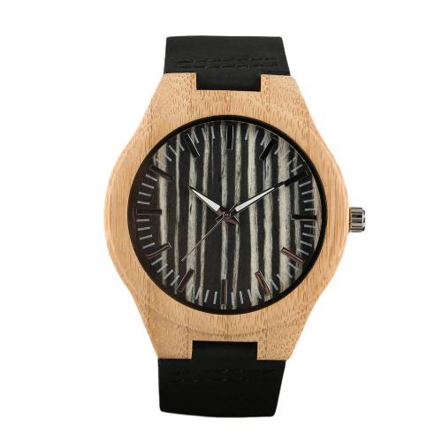 Bracelet en cuir pour une montre en bois noire