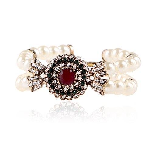 Bracelet vintage femme rouge ou vert en perles