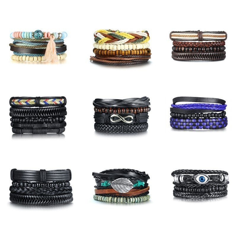 4 pièces/ensemble Noir Bracelets pour Hommes