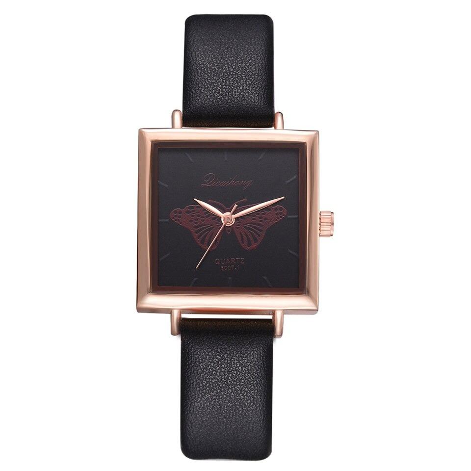Bracelet montre carré décontractée en cuir