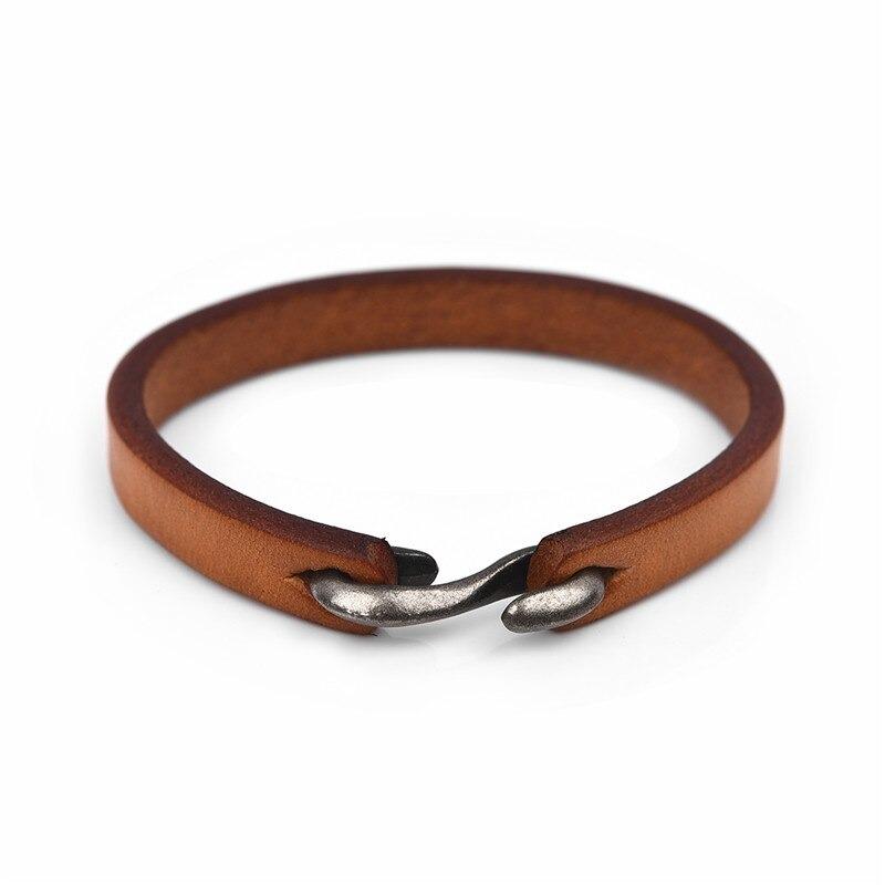 Bracelet vintage noir/marron en cuir véritable