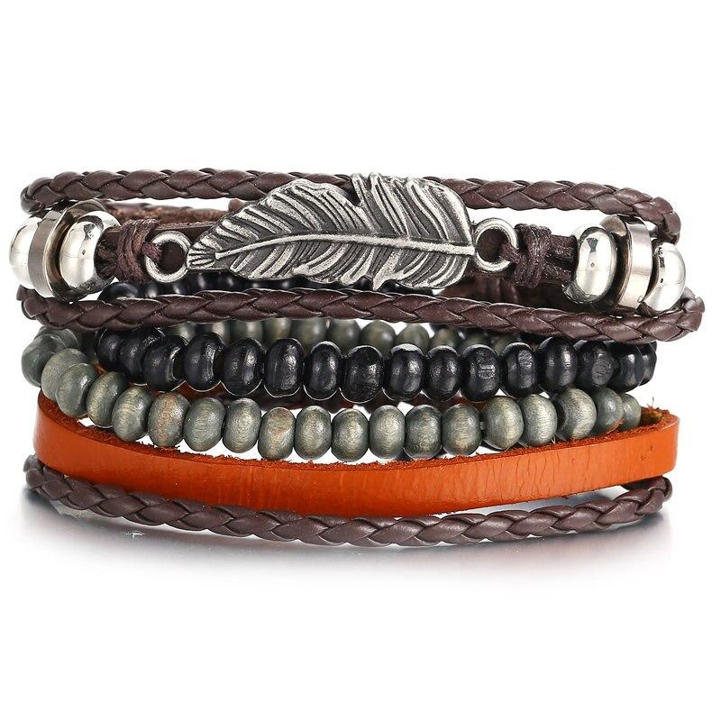 Set de bracelets Multicouche En Cuir pour Homme ou Femme style Vintage