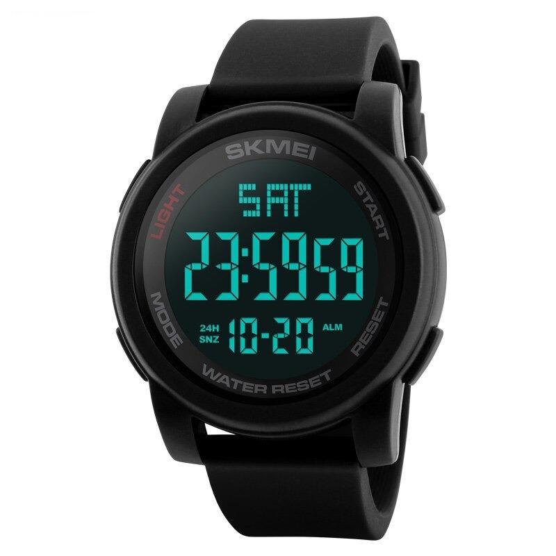 Montre numérique à LED - Montre bracelet noire avec alarme 50 m