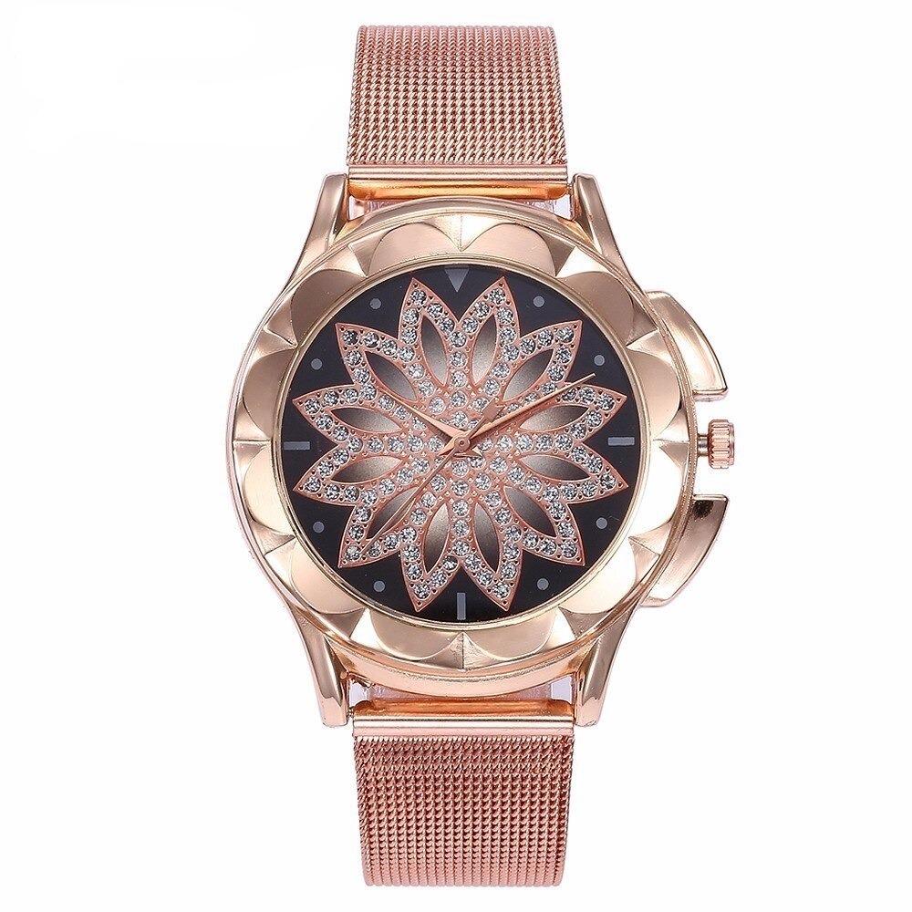 Montre-bracelet avec cadran fleur Rose, style décontracté pour femme