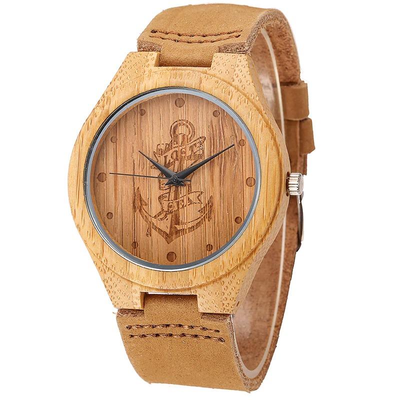 Montres en bois avec ancre marine et cuir véritable