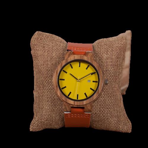 Montres en bois de zébré avec bracelet orange