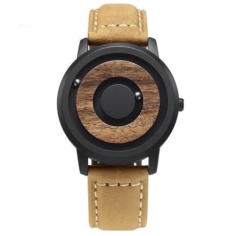 Montre minimaliste en bois avec cadran magnétique