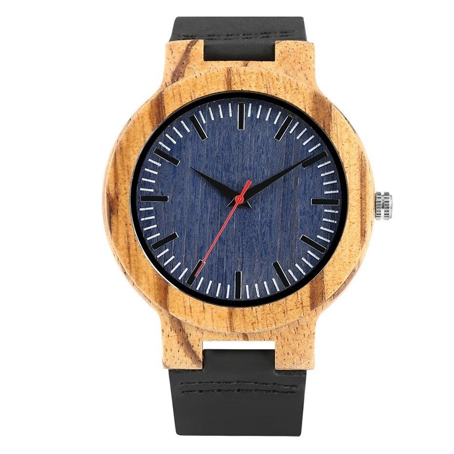 Montre en bois avec cadran bleu - Montre-bracelet en cuir véritable