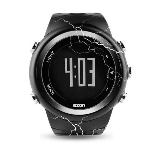 Montre numérique ronde comprenant un podomètre, un chronomètre numérique au 1/100e de seconde