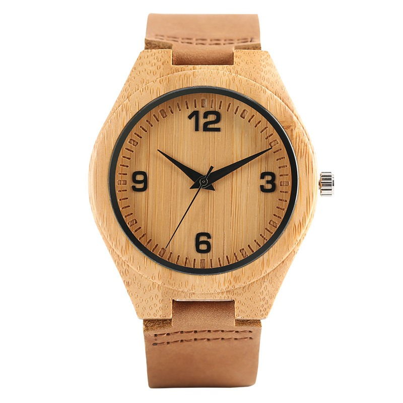Simple montre en bambou avec grand cadran et bracelet en cuir