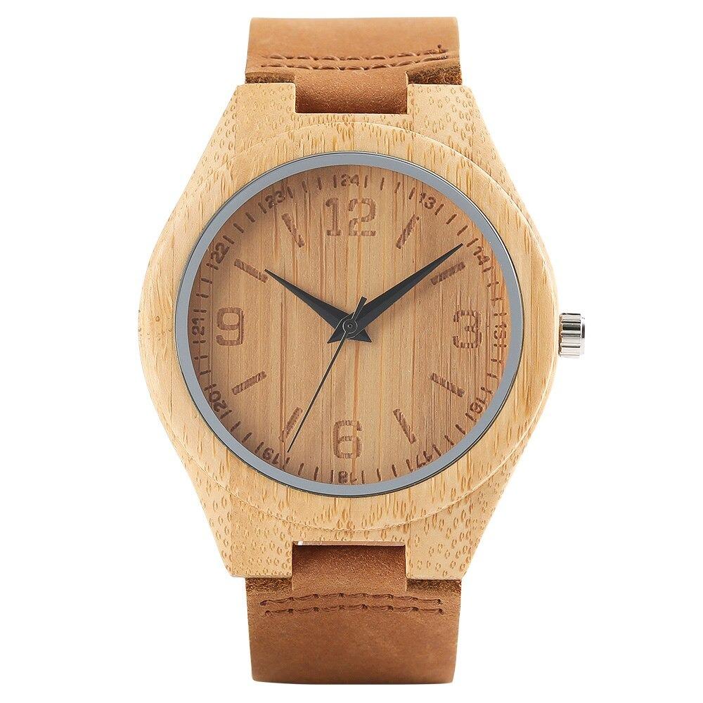 Montres en bois minimaliste pour hommes ou femmes avec bracelet en cuir moderne