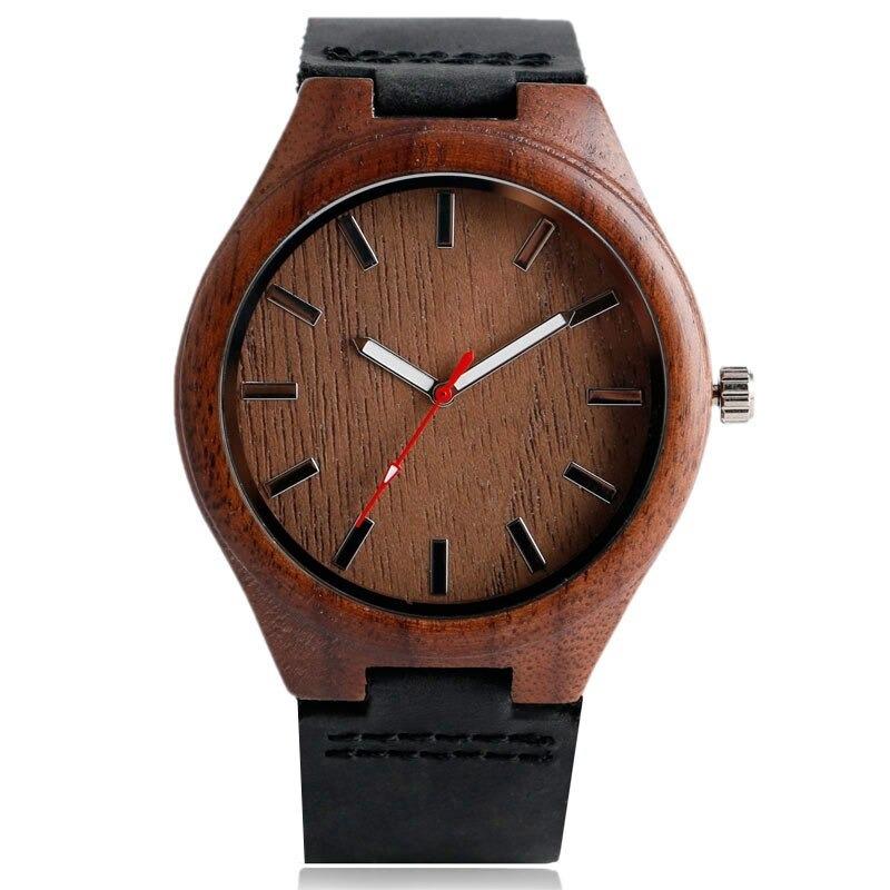 Montre minimaliste fait à la main en bois de bambou foncé