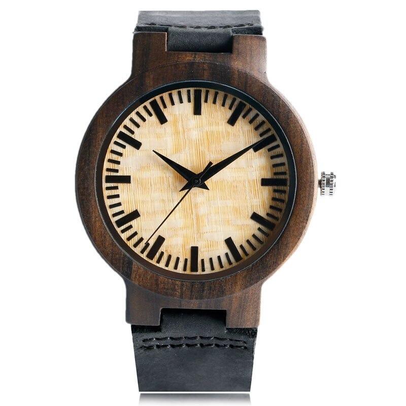 Montre en bambou simple et très naturel avec bracelet en cuir