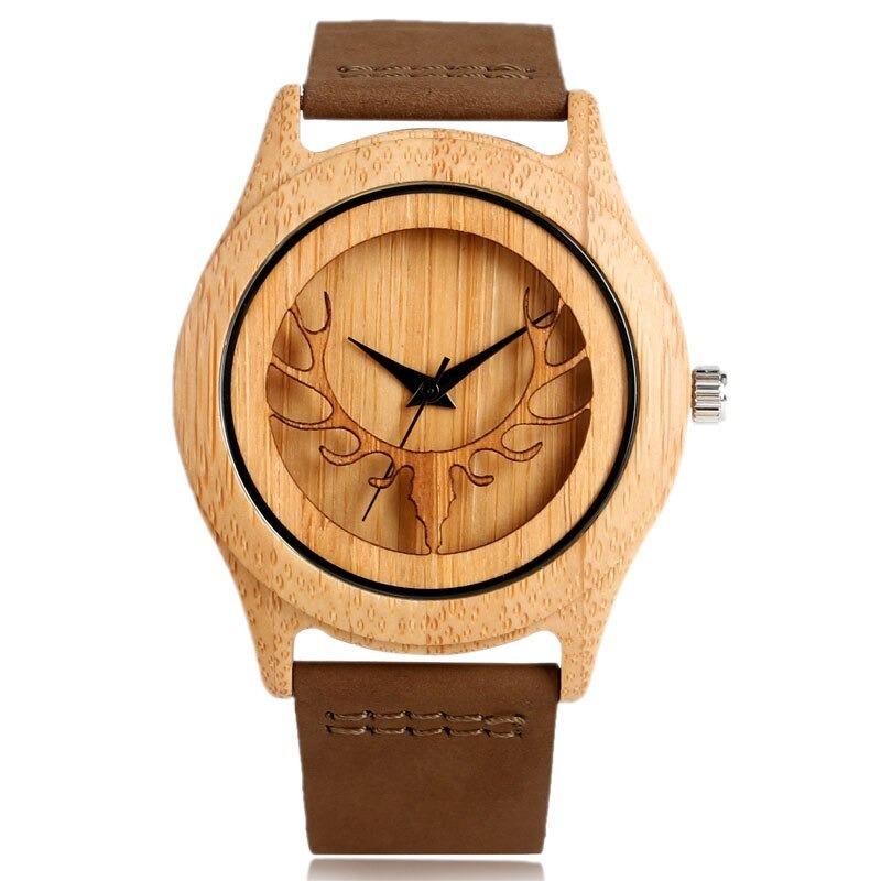 Montre en bois créatif avec cadran tête de cerf