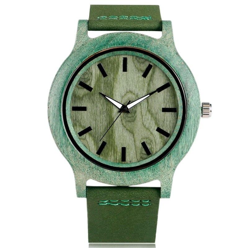 Montre unisexe en bambou de couleur verte avec bracelet en cuir