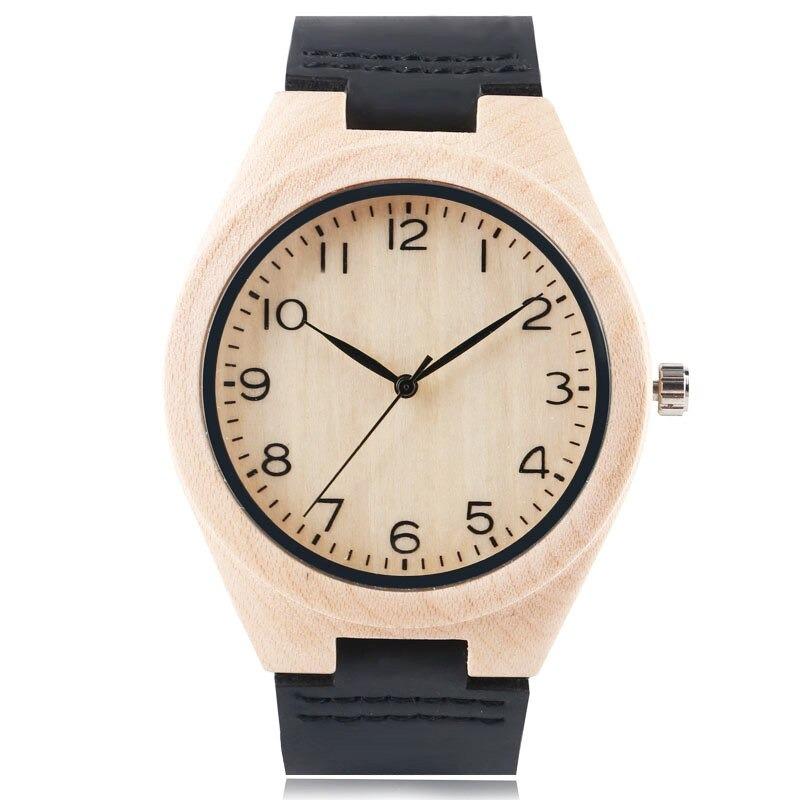 Montres en bois simple pour homme ou femme avec bracelet en cuir