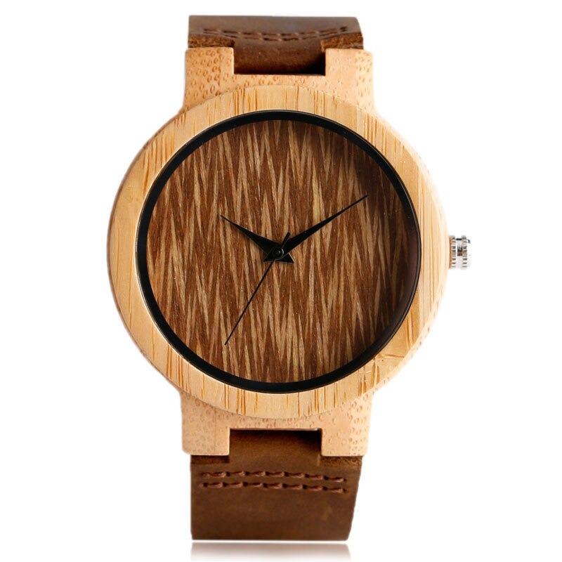 Montre unique nature en bois avec bracelet en cuir