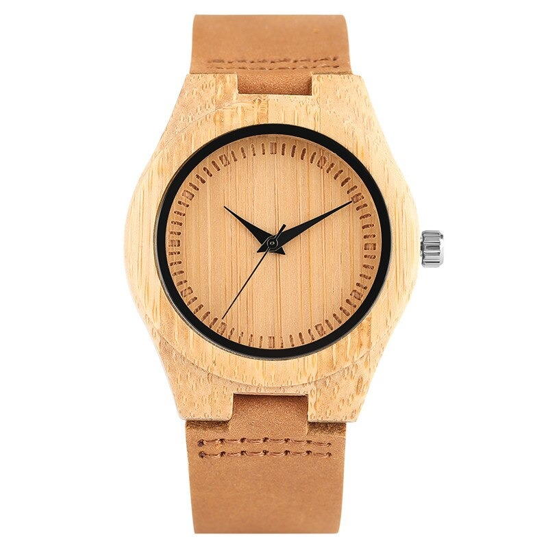 Montre minimaliste en bois pour femmes. Cadran pur sans numéro.