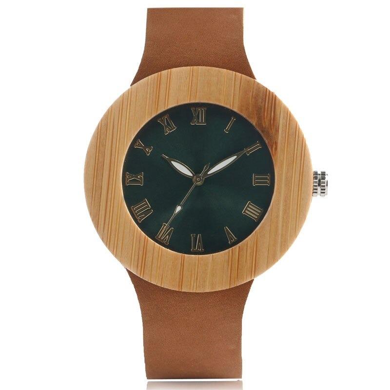 Montre numéro romain nature en bois et minimaliste pour femme