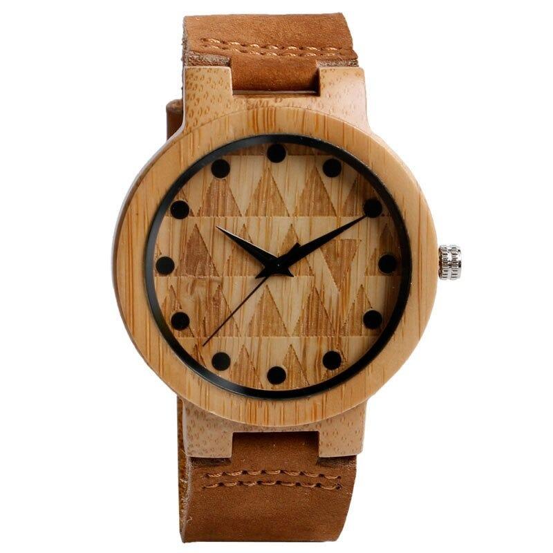 Montre analogique nature en bois dans un style décontracté