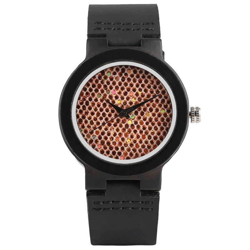 Montre-bracelet en bois de santal noir et belle paillettes arc-en-ciel