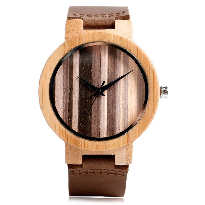 Montre simple et créative en bois et bracelet en cuir