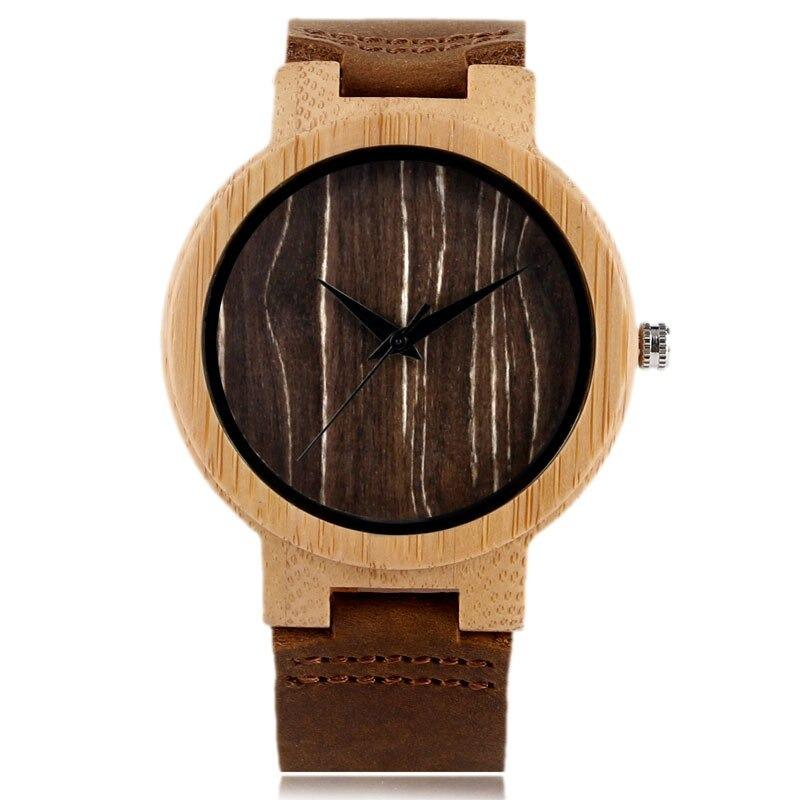 Montre en bambou naturel avec bracelet moderne en cuir
