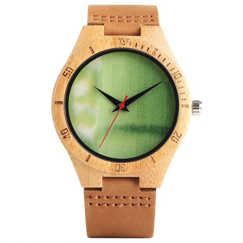 Montre nature avec cadran en bois vert clair ou orange