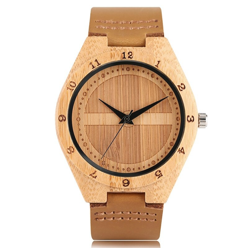 Montre-bracelet moderne en bambou pour hommes ou femmes