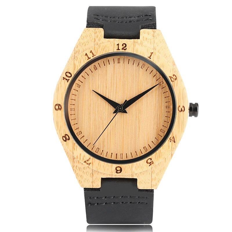 Montre-bracelet Nature et simple en bois bambou