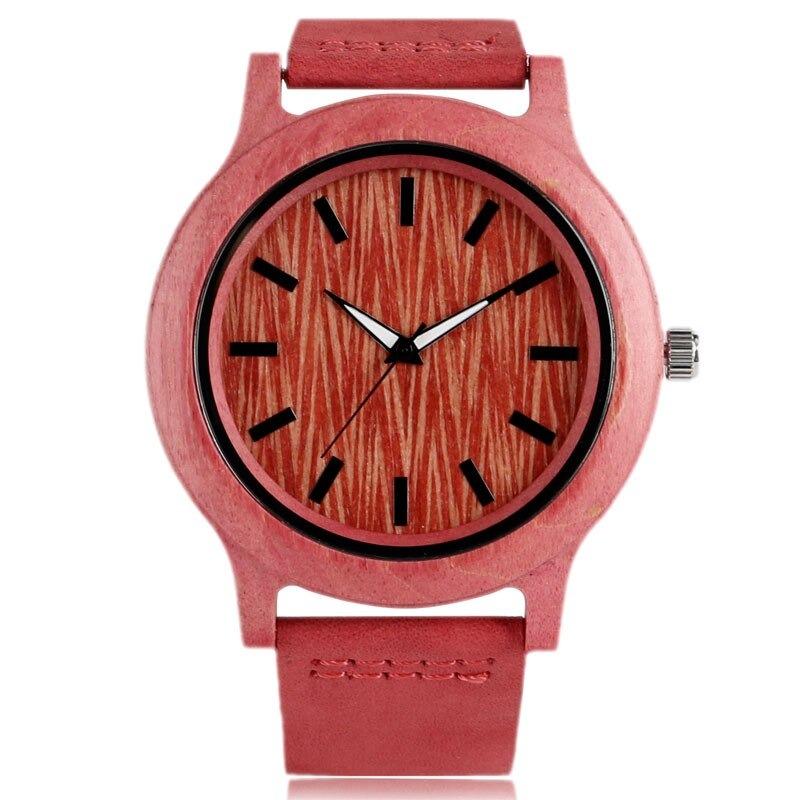 Montre créative en bois rose rouge avec bracelet en cuir