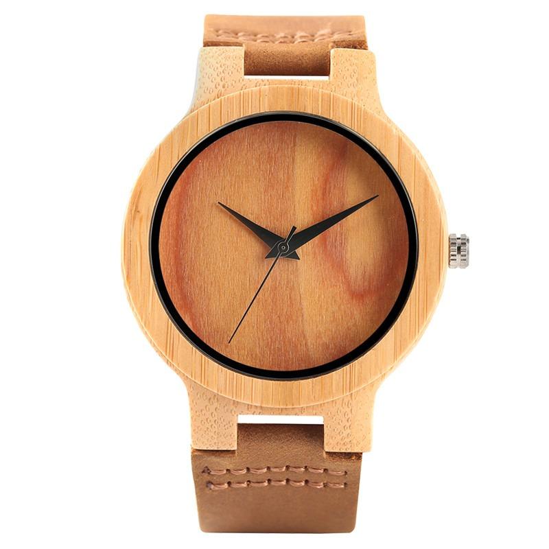Montre minimaliste en bois avec cadran teint d\'arbre grain ou vert