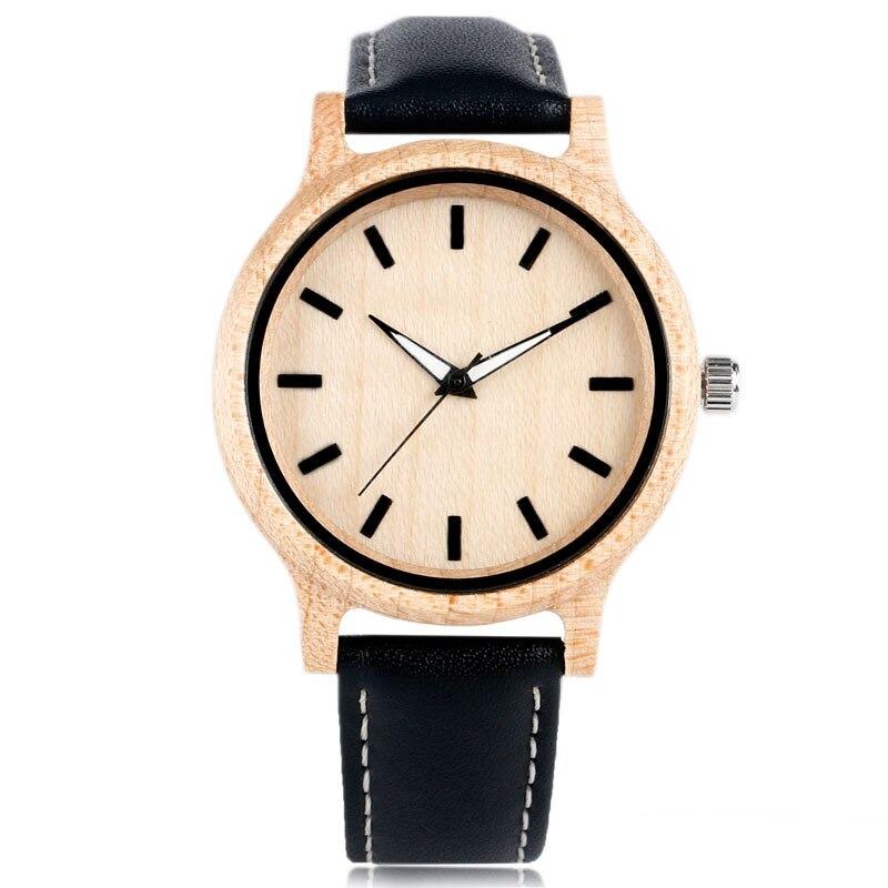 Montre simple et élégante en bois avec bracelet moderne décontracté en cuir