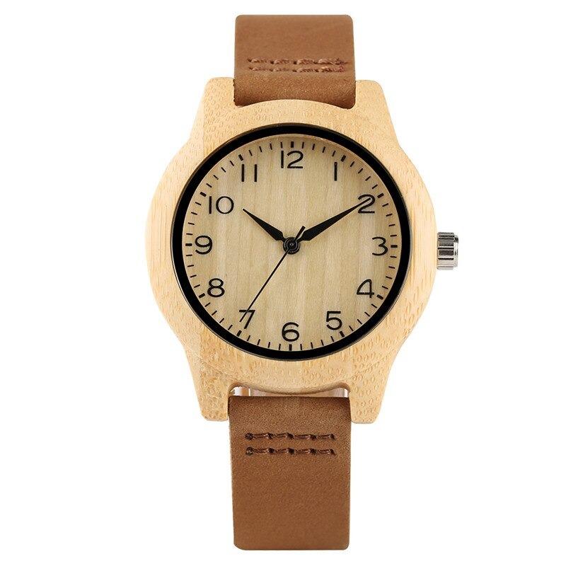 Montre moderne et classique en bois avec bracelet en cuir