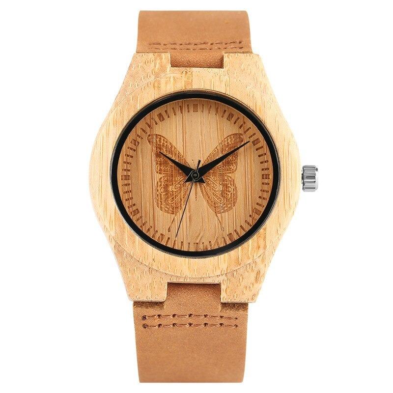 Montre papillon en bois avec bracelet en cuir