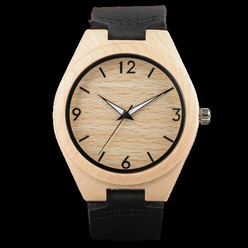 Montre toute simple en bois avec bracelet en cuir véritable