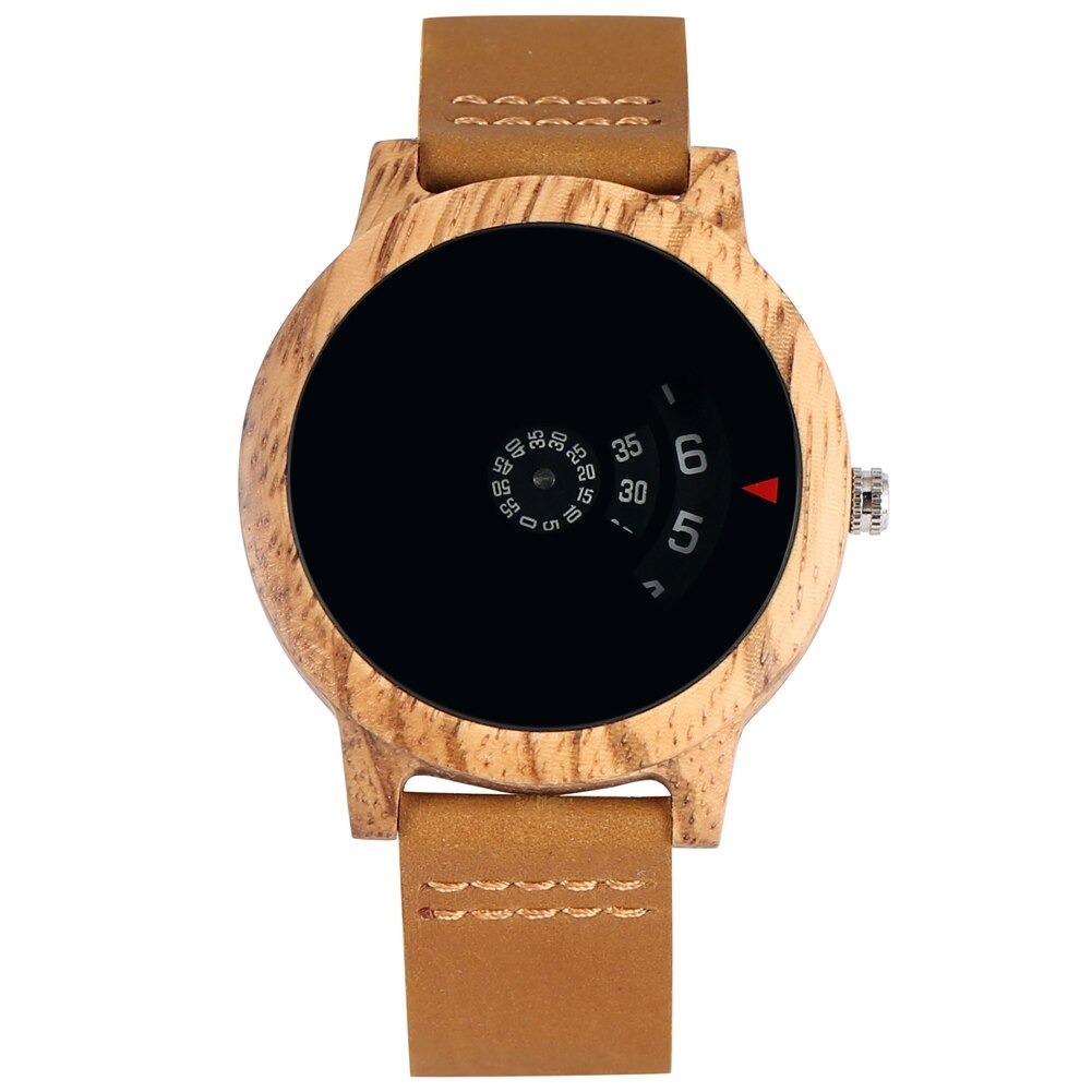 Montre en bois façon tourne-disque Design cadran ébène/rouge/marron