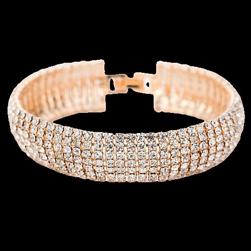 Bracelet Cristal doré et Argenté avec Strass Bijoux pour femme